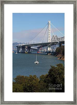 The New And The Old Bay Bridge San Francisco Oakland California 5d25409 Framed Print by Wingsdomain Art and Photography