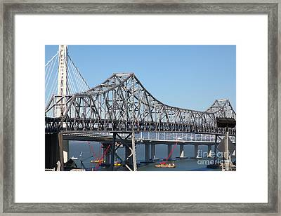 The New And The Old Bay Bridge San Francisco Oakland California 5d25422 Framed Print by Wingsdomain Art and Photography