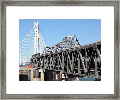 The New And The Old Bay Bridge San Francisco Oakland California 5d25429 Framed Print by Wingsdomain Art and Photography