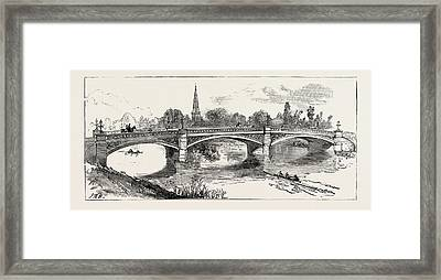 The New Bridge Bedford, Engraving 1884, Uk, Britain Framed Print