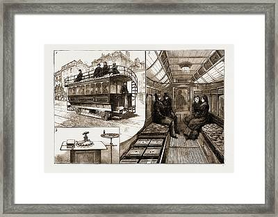 The New Electric Tramcar At Kew Bridge, London Framed Print by Litz Collection