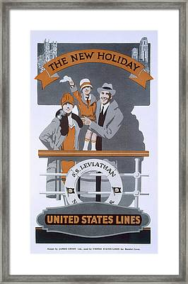 The New Holiday, Vintage Travel Poster Framed Print by American School