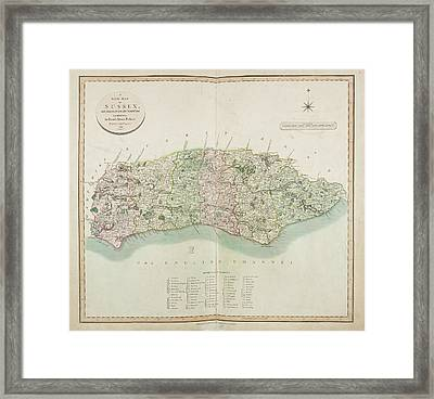 The New Map Of The County Of Sussex Framed Print by British Library
