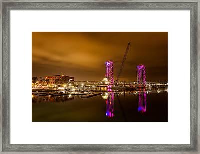 The New Memorial Bridge At Night Framed Print by Jeff Sinon