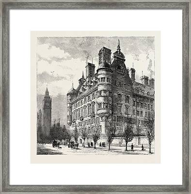 The New Police Offices On The Victoria Embankment Framed Print by English School