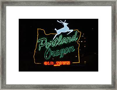 The New Portland Oregon Sign At Night Framed Print by DerekTXFactor Creative