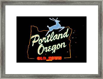 The New Portland Oregon Sign At Night With White Lights Framed Print by DerekTXFactor Creative