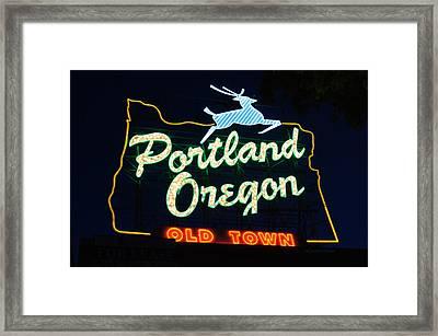 The New Portland Oregon Sign Framed Print by DerekTXFactor Creative