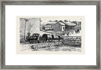 The New Railway At Barbadoes Framed Print by English School