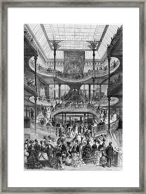 The New Staircase In Au Bon Marche, From Le Monde Illustre Framed Print by Frederic Lix