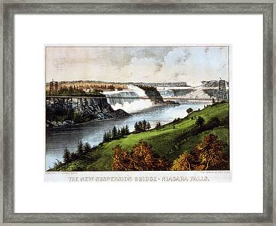 The New Suspension Bridge--niagara Falls Currier & Ives Framed Print by Litz Collection