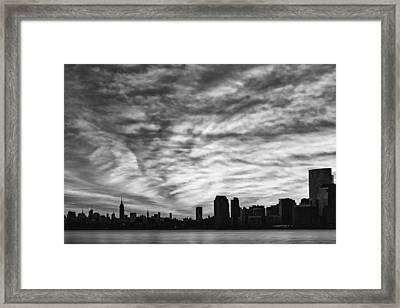 The New York City Skyline Awakens Bw Framed Print by Susan Candelario