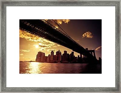 The New York City Skyline - Sunset Framed Print