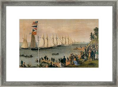 The New York Yacht Club Regatta Framed Print by Charles Parsons and LyAtwater Nathaniel Currier