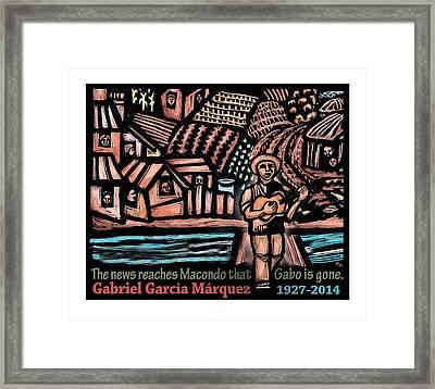 The News Reaches Macondo Framed Print by Ricardo Levins Morales