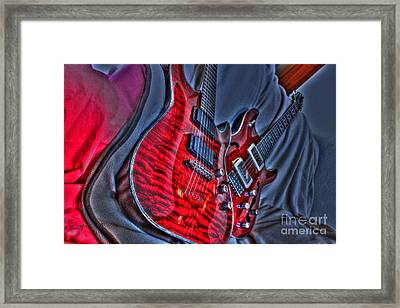 The Next Red Thing Digital Guitar Art By Steven Langston Framed Print by Steven Lebron Langston