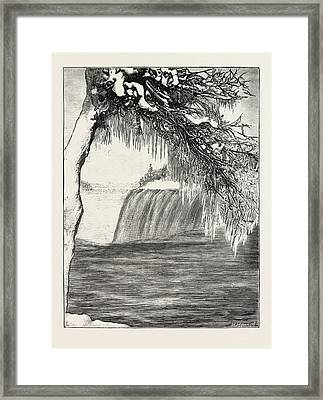 The Niagara Falls In Winter Time American Fall From Luna Framed Print by English School