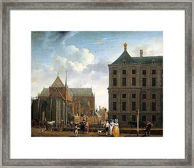 The Nieuwe Kerk And The Rear Of The Town Hall In Amsterdam  Framed Print by Isaak Ouwater