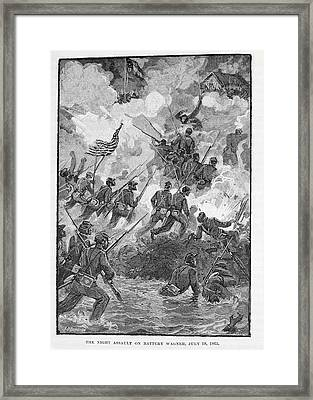 The Night Assault On Battery Wagner, July 18th 1863, Engraved By C. H. Reed, Illustration Framed Print by Julian Oliver Davidson
