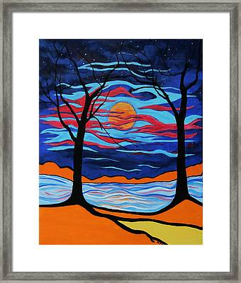 The Night Dances Framed Print by Kathy Peltomaa Lewis