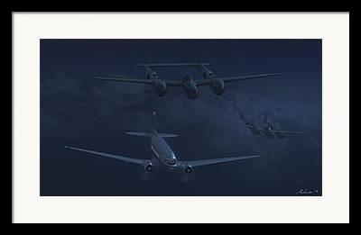 American Airways Digital Art Framed Prints