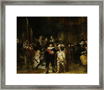 The Nightwatch, 1642 Oil On Canvas Framed Print