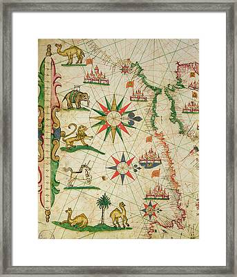 The North African Coast, From A Nautical Atlas, 1651 Ink On Vellum Detail From 330919 Framed Print by Pietro Giovanni Prunes