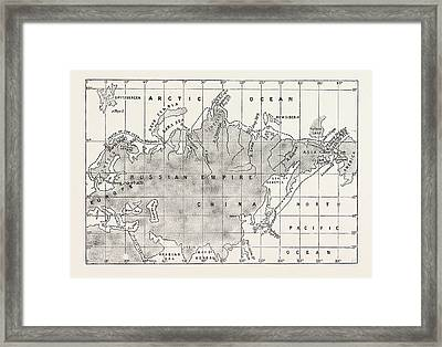 The North-east Passage  Map Of The Route Taken Framed Print by English School
