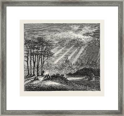 The North Of London, The Heath, Hampstead, Engraving 1876 Framed Print