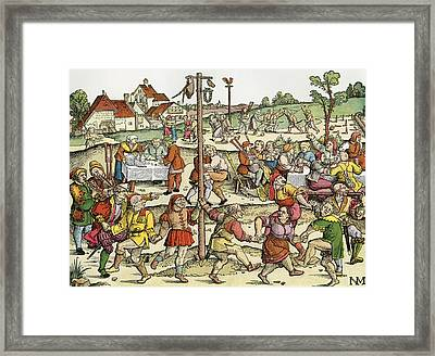 The Nose Dance, After A 16th Century Woodcut By Nikolaus Meldemann.  A Rural German Dance Festival Framed Print