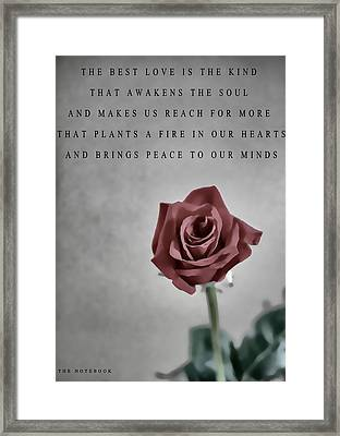 The Notebook Love Quote Framed Print by Dan Sproul