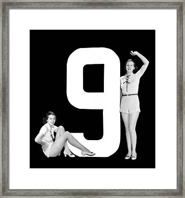 The Number 9 And Two Women Framed Print