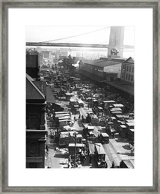 The Ny Fulton Street Market Framed Print by Underwood Archives