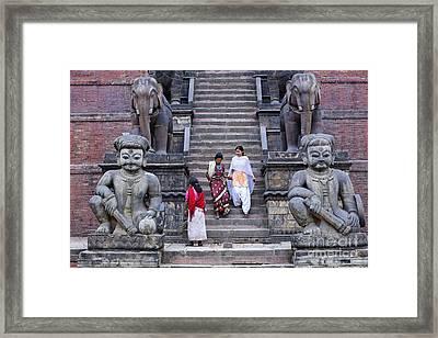 The Nyatapola Temple At Bhaktapur In Nepal Framed Print by Robert Preston
