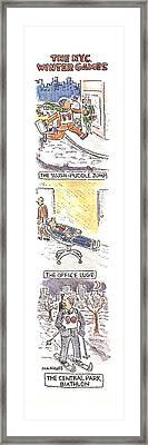 The N.y.c. Winter Games Framed Print by Robert Mankoff