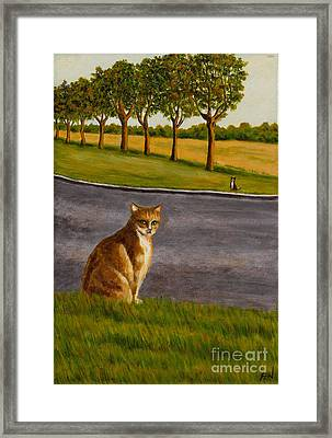 Framed Print featuring the painting The Obscure Communication Between Cats by Jingfen Hwu