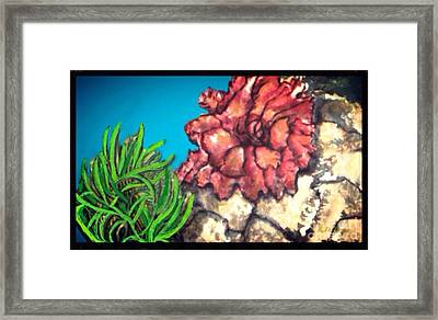 Framed Print featuring the painting The Odd Couple Two Very Different Sea Anemones Cohabitat by Kimberlee Baxter