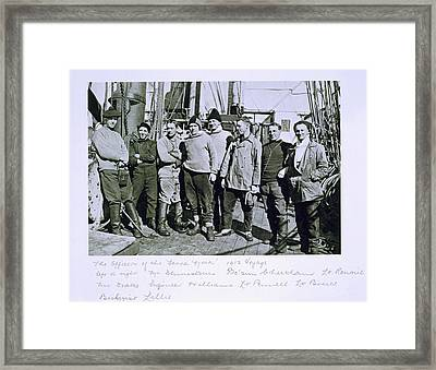 The Officers Of The Terra Nova Expedition Framed Print by Herbert Ponting