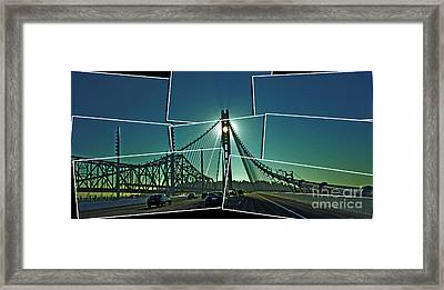 The Old And New Spans Of The Oakland Bay Bridge  Framed Print by Jim Fitzpatrick