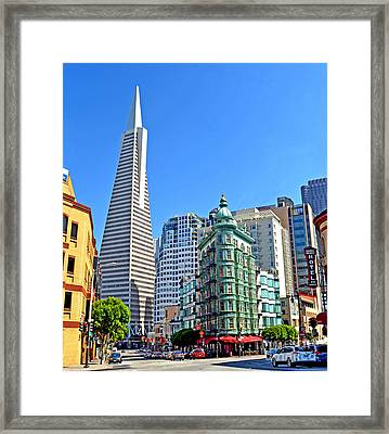 The Old And The New The Columbus Tower And The Transamerica Pyramid II Framed Print by Jim Fitzpatrick