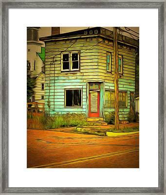 The Old Barber Shop Framed Print