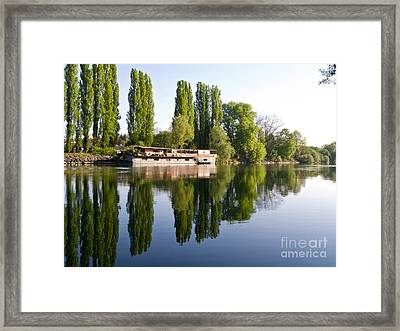 The Old Barge At Auvers Framed Print by Alex Cassels