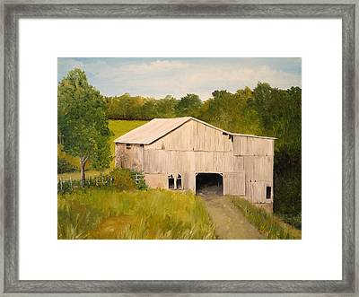 Framed Print featuring the painting The Old Barn by Alan Lakin