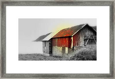 Remember The Old Barn By The Foggy Sea Framed Print