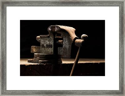 The Old Bench Vise Framed Print by Andrew Pacheco
