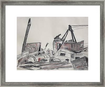 The Old Berkeley Marina Junk Heap On A Foggy Day Framed Print by Asha Carolyn Young