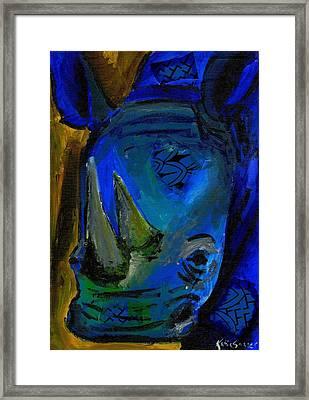The Old Blue Rhino Framed Print