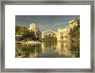 The Old Bridge At Mostar Framed Print by Rob Hawkins