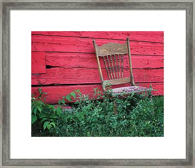 The Old Chair And The Red Barn #1 Framed Print