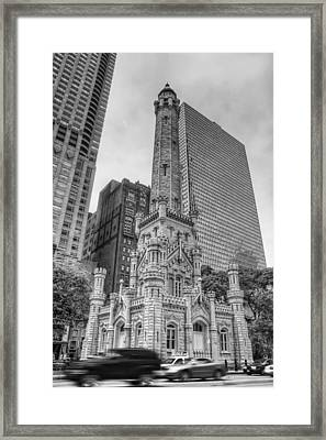 The Old Chicago Water Tower Bw Framed Print